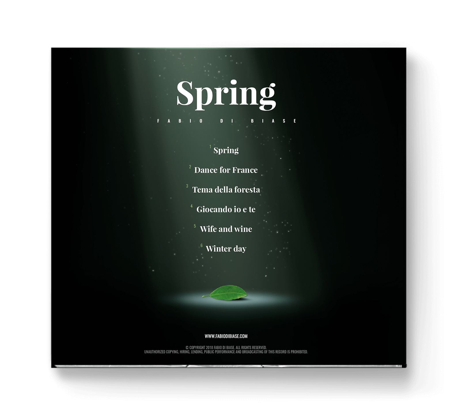 Spring piano solo album rear image