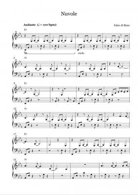 nuvole piano sheet music fabio di biase 01